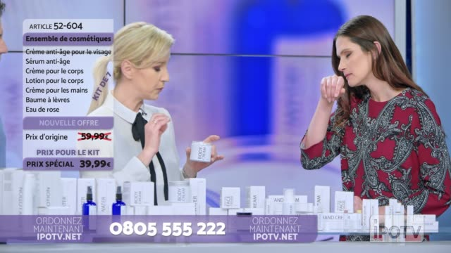 infomercial montage in french: woman presenting a cosmetic line on an infomercial show rubbing some cream on the female model while talking to the male host and explaining the product - television show stock videos and b-roll footage