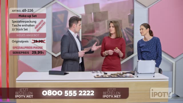 infomercial montage in german: female make up artist presenting a make up brush on the infomercial show - television advertisement stock videos & royalty-free footage