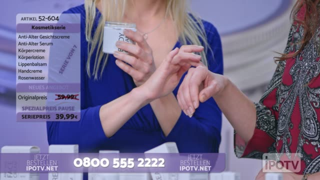 infomercial montage in german: woman presenting a cosmetic line on an infomercial show rubbing cream onto the hand of a female model while talking to the female host - television host stock videos & royalty-free footage