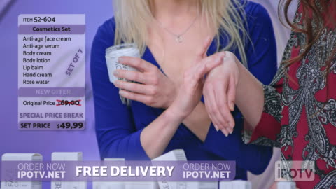 us infomercial montage: woman presenting a cosmetic line on an infomercial show rubbing cream onto the hand of a female model while talking to the female host - television show stock videos & royalty-free footage