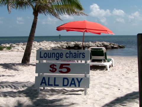 CU, ZO, MS, Information board next to lounge chair and umbrella on beach