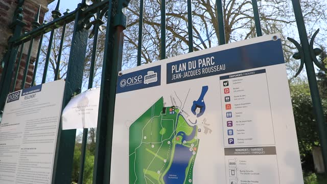 information sign at the entrance of the of the jean jacques rousseau park on a sunny spring day on april 22, 2021 in ermenonville, france. this... - daydreaming stock videos & royalty-free footage