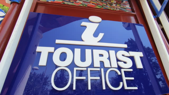 information sign for tourists ticket office, italy, europe. - slow motion - ticket counter stock videos & royalty-free footage