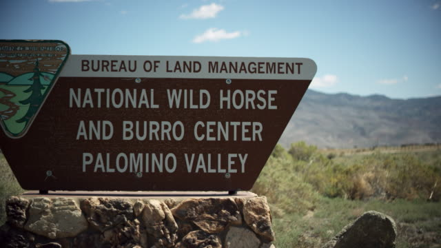 information sign of national wild horse and burro center, palomina valley - information sign stock videos & royalty-free footage