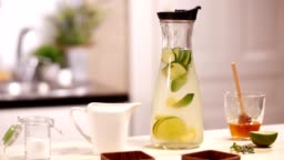Infused water with citrus and cucumber