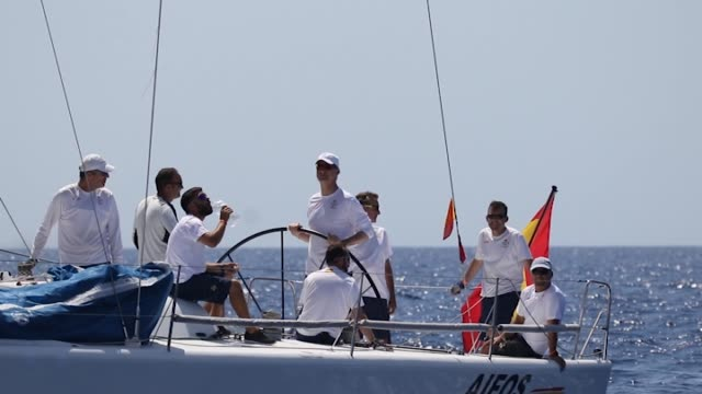 ing Felipe VI of Spain onborad Aifos during 35th Copa Del Rey Mapfre Sailing Cup