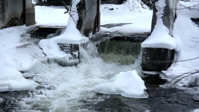 inglis falls in winter - niagara river stock videos and b-roll footage