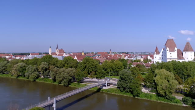 ingolstadt new castle (neues schloss) and old town - river danube video stock e b–roll