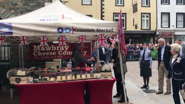 initial clip of the duke and duchess of cambridge arriving in keswick town centre during a visit to cumbria - capital letter stock videos & royalty-free footage
