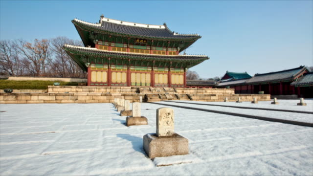 Injeongjeon Hall (throne hall of Changdeok palace and National Treasure of Korea 225) at winter