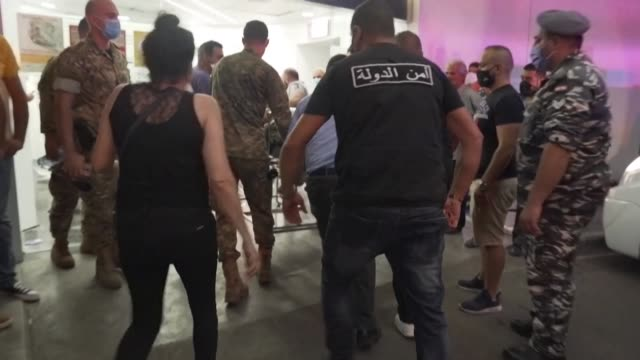 injured victims are transported to a hospital in lebanon following two enormous explosions that rocked beirut's port - injured stock videos & royalty-free footage