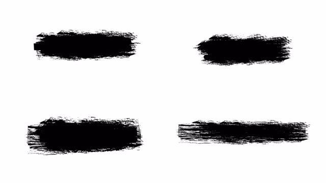 インク ブラシ ストローク セット ホイット アルファ (透明度) チャネル。ドラッグしてビデオにドロップするだけです。モーショングラフィックス、デジタル構成に最適です。マスク、トラ� - 絵筆点の映像素材/bロール