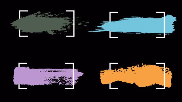 vídeos de stock, filmes e b-roll de ink brush stroke set whit alpha (transparência) canal. apenas arraste e deixe cair no seu vídeo. perfeito para gráficos de movimento, composição digital. perfeito para máscaras, transições, desbotamentos, foscos, revela. uhd, hd, 1080p, 4k - efeito especial