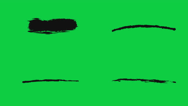 ink brush stroke set whit green screen chroma key. just drag and drop on to your video. perfect for motion graphics, digital composition. perfect for masks, transitions, fades, mattes, reveals. uhd, hd, 1080p, 4k - scribble stock videos & royalty-free footage