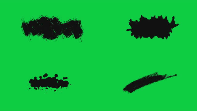 ink brush stroke set whit green screen chroma key. just drag and drop on to your video. perfect for motion graphics, digital composition. perfect for masks, transitions, fades, mattes, reveals. uhd, hd, 1080p, 4k - paintbrush stock videos & royalty-free footage
