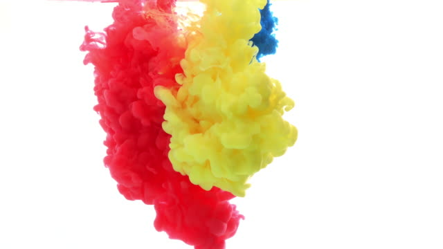 ink in water. colour ink reacting in water creating abstract cloud formations. can be used as transitions, added to modern projects, gunge projects, art backgrounds. inky drops, ink bolts, paint - yellow stock videos & royalty-free footage