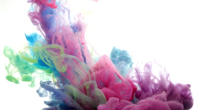 ink in water. colour ink reacting in water creating abstract cloud formations. can be used as transitions, added to modern projects, gunge projects, art backgrounds. inky drops, ink bolts, paint - imbrattato video stock e b–roll
