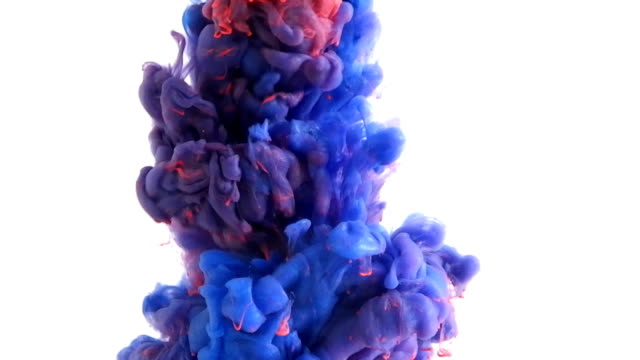 ink in water. colour ink reacting in water creating abstract cloud formations. can be used as transitions, added to modern projects, gunge projects, art backgrounds. inky drops, ink bolts, paint - inchiostro video stock e b–roll