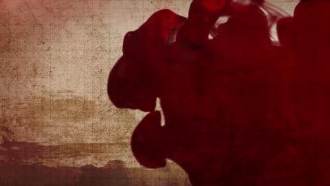 vídeos y material grabado en eventos de stock de tinta o sangre en fondo grunge de papel nube - blood