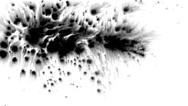 vídeos de stock e filmes b-roll de ink splatter in splashes, drops and stains. - cor isolada