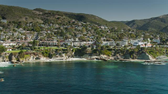 inland facing drone shot of laguna beach, california - laguna beach california stock videos & royalty-free footage