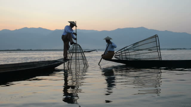 inle lake myanmar - fisherman stock videos & royalty-free footage