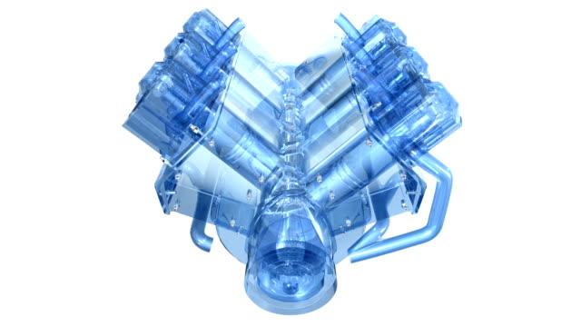 in-line 6 cylinder diesel engine, rotating, highspeed - cylinder stock videos & royalty-free footage