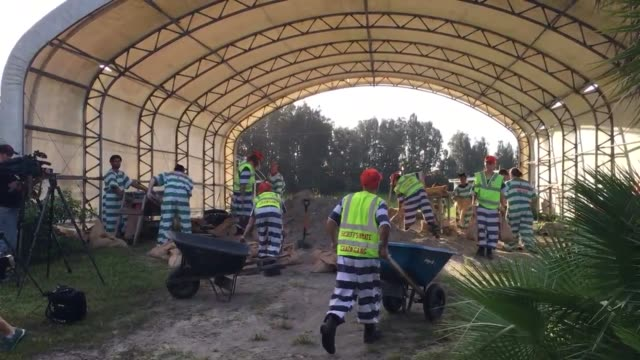 inmates at the brevard county sheriffs office inmate work farm give out sandbags to people in the community before hurricane matthew - prisoner stock videos and b-roll footage