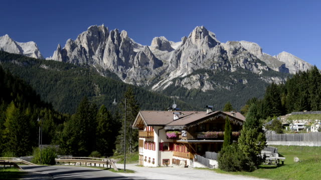 inn in front of rosengarten mountain group - val di fassa stock videos and b-roll footage