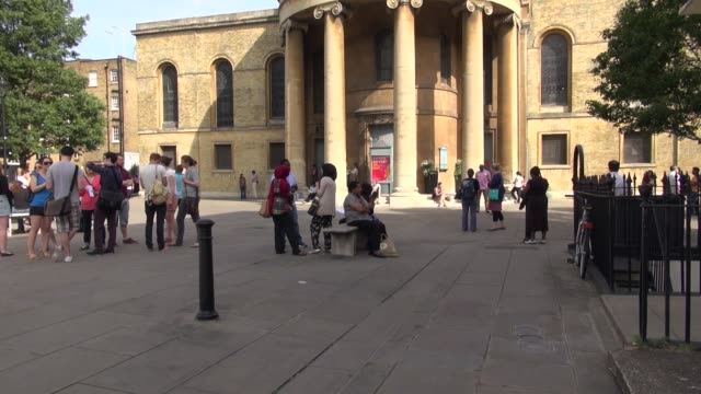 inner london church exteriors on a sunny day with people of various religions gathering for a multi faith meeting. st marys church, marylebone,... - british museum stock videos & royalty-free footage