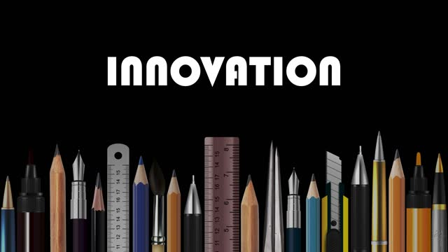 innovation, stop motion animation of wooden pencils, pens, measure, pair of compasses, brush, fountain-pen,  abstract conceptual image, contemporary art, bright idea, opinion, solution, philosophy, back to school - pair of compasses stock videos & royalty-free footage