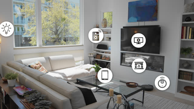 innovative living room containing multiple smart devices - internet of things stock videos & royalty-free footage