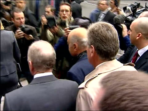 inquest begins into death of diana princess of wales mohammed al fayed along thru press scrum mohammed al fayed press conference sot at last we are... - inquest stock videos & royalty-free footage