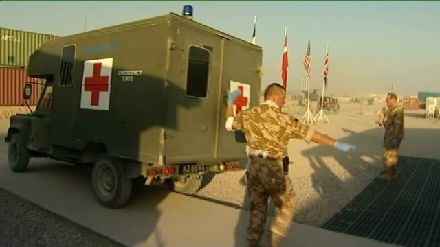 inquest begins into shooting of british soldiers by afghan policeman; tx 4.11.2009 afghanistan: helmand province: camp bastion: british army medical... - helmand stock videos & royalty-free footage