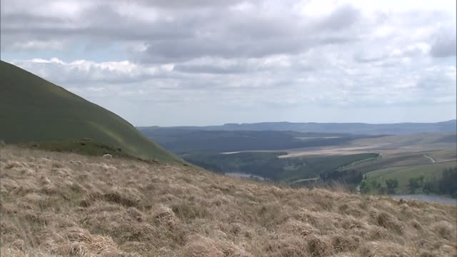 Inquest into deaths of three men during SAS training march on Brecon Beacons WALES Brecon Beacons Steep path on mountain Sheep grazing on hillside...