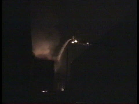 inquiry begins; manchester strangeways prison f'back night of 1.4.90 airv fire in prison building water sprayed onto prison, firemen hosing flames,... - hm prison manchester stock videos & royalty-free footage