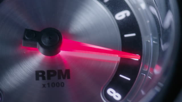 insert tachometer, close on pointer; various rpm, pegs several times - inserting stock videos & royalty-free footage