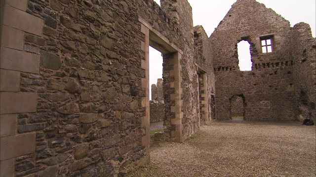 inside a castle in ireland - fortress stock videos & royalty-free footage