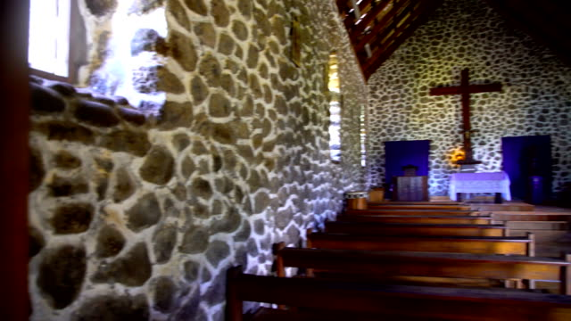inside a catholic church taaoa hiva oa marquesas - french overseas territory stock videos & royalty-free footage