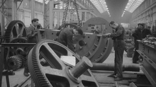 1954 montage inside a central repair workshop where large maintenance jobs take place / united kingdom - 1954 stock videos & royalty-free footage