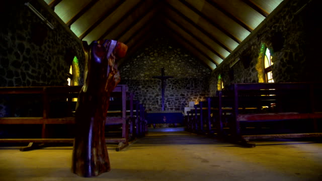 inside a church building vaitahu tahuata island marquesas - polynesian ethnicity stock videos & royalty-free footage