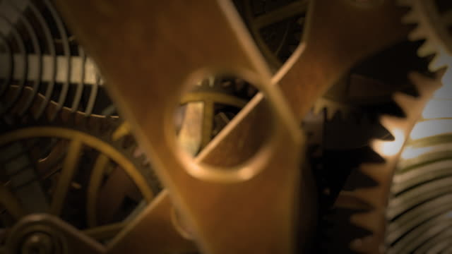 inside a clock, infinite zoom into the clockwork. - continuity stock videos and b-roll footage