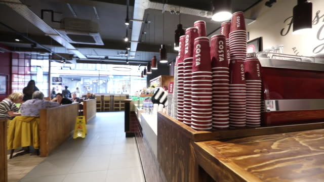 inside a costa coffee shop in london united kingdom on wednesday may 2 2018 - coffee cup stock videos & royalty-free footage