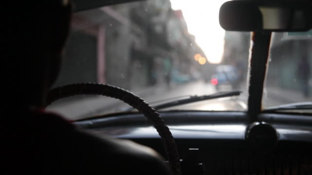 Inside a ride of a cuban car