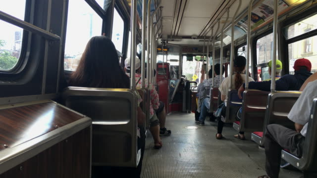inside a ttc old bombardier streetcar moving in the toronto streets- canada - tram stock videos & royalty-free footage