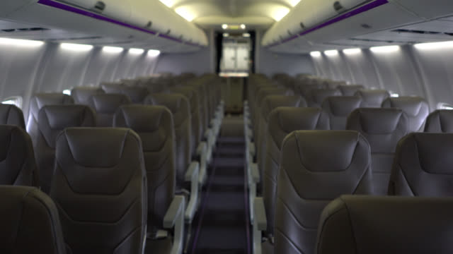 inside airplane view - no people - abitacolo video stock e b–roll