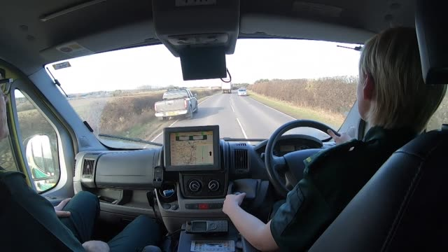 pov inside ambulance driving through rural lincolnshire - point of view stock videos & royalty-free footage