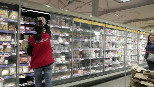 inside an auchan retail sa supermarket in yvelines france on monday may 7 2018 - 生鮮食品コーナー点の映像素材/bロール
