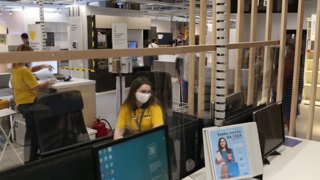 inside and outside of ikea ab store in moscow, russia, on tuesday, june 9, 2020. - russia点の映像素材/bロール