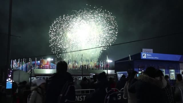 inside and outside of the olympic stadium thousands of people in pyeongchang followed the closing ceremony of the 2018 winter games with its display... - winter olympic games stock videos and b-roll footage